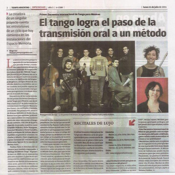 Diario tiempo argentino – 21 de julio