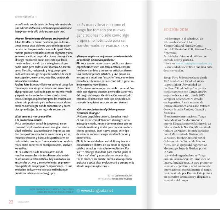 TPM Febrero El Tangauta revista hojas 2 y 3
